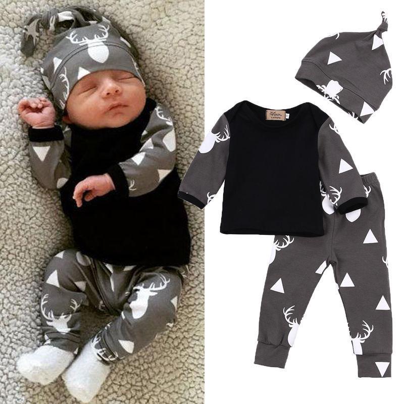 Newborn Baby Boys Clothes Cotton Sets Print Long Sleeve T-shirt Tops +Pants Leggings Hat 3pcs Outfits Baby Autumn Clothing