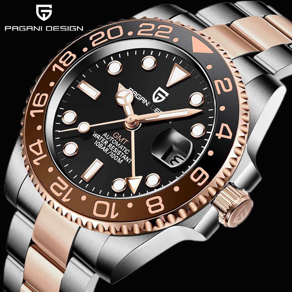 2021 جديد فاخر GMT ساعة PAGANI تصميم الرجال الفولاذ المقاوم للصدأ التلقائي ساعات آلية الياقوت السيراميك الحافة مقاوم للماء على مدار الساعة