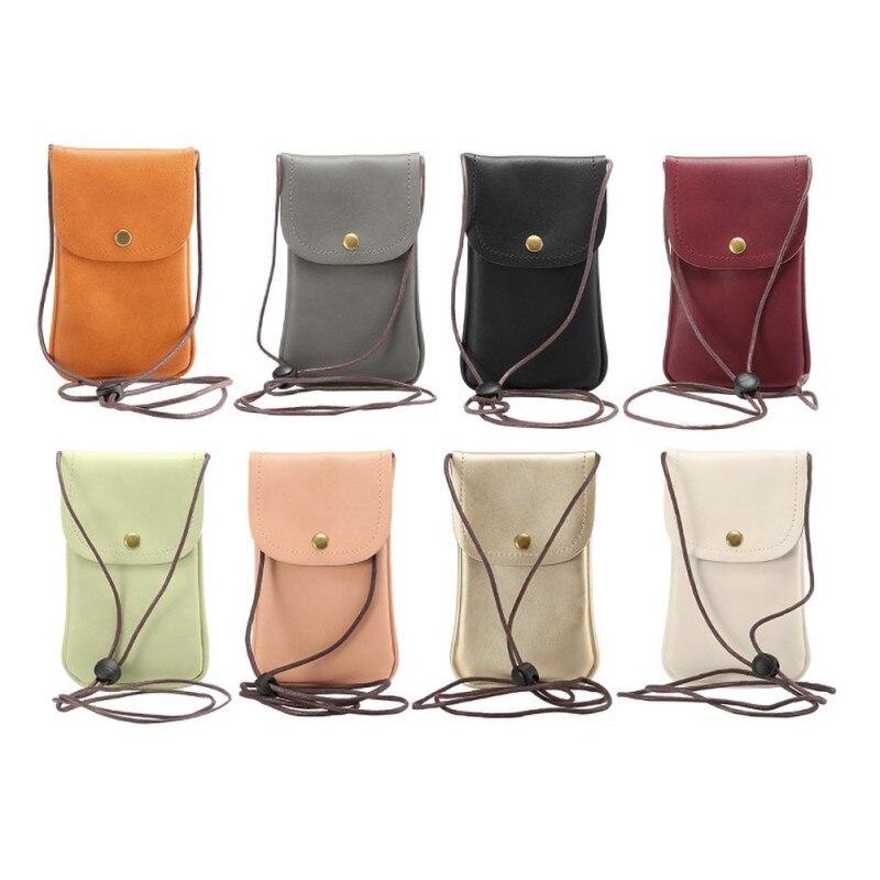 Bolso Universal de cuero para teléfono móvil bolso de hombro bolsillo cartera estuche correa para el cuello para Smartphone