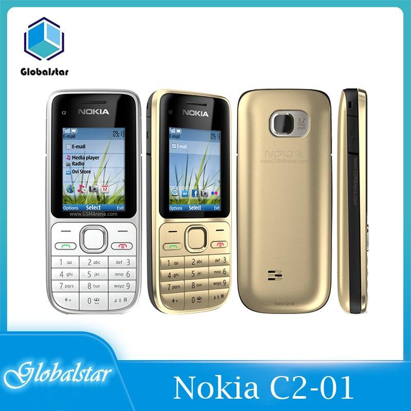 Nokia C2-01 отремонтированные мобильные телефоны Оригинальный разблокированый мобильный телефон 2,0 дюйм 3.2MP Bluetooth GSM/WCDMA 3G телефон быструю доставку