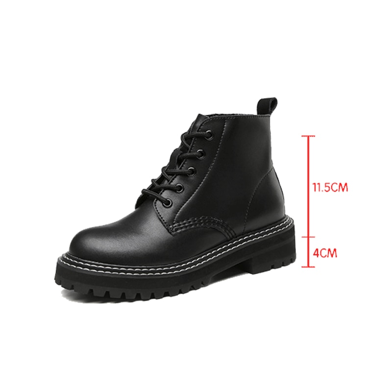 Women Shoes Boots Ankle 2021 Autumn British Wind Genuine Leather Thick With Fur Ladies Short Boots M