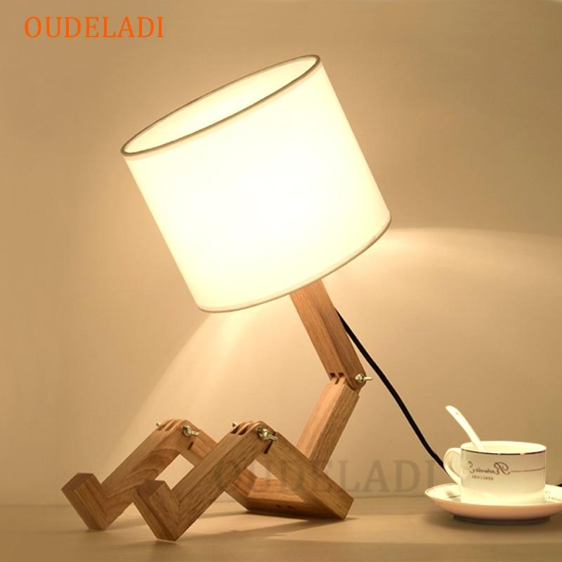 مصباح طاولة خشبي على شكل روبوت ، حامل مصباح E14 ، 110-240 فولت ، قماش حديث ، فن ، مكتب ، طاولة ، غرفة دراسة داخلية ، ضوء ليلي