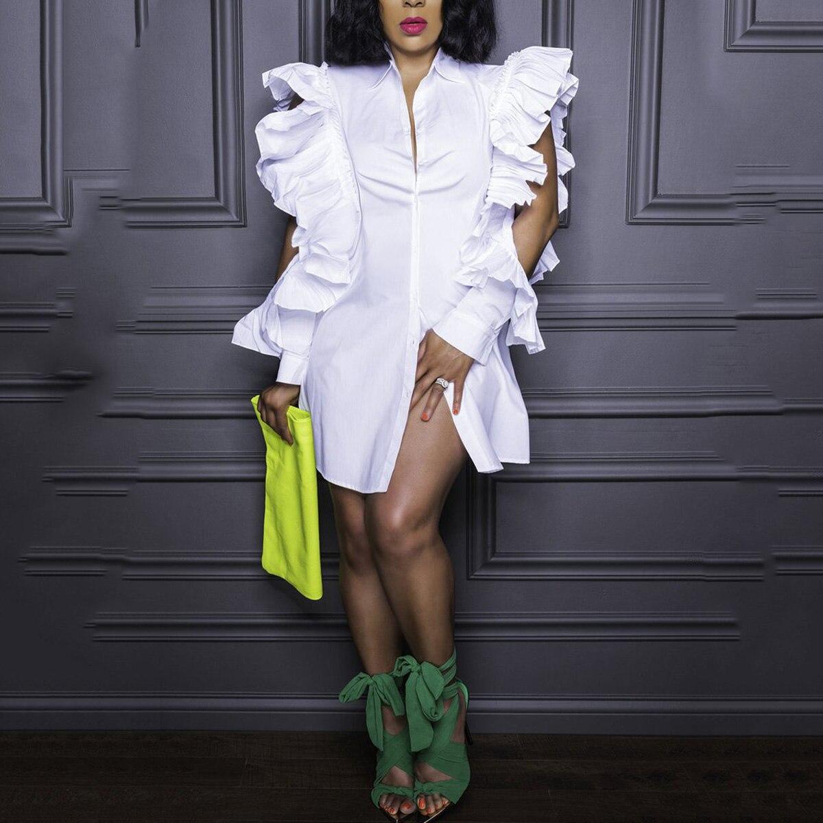 قمصان بيضاء فساتين للنساء حجم كبير 4XL 5XL كبير الكشكشة الباردة الكتف واحدة الصدر بدوره أسفل طوق مساء الملابس