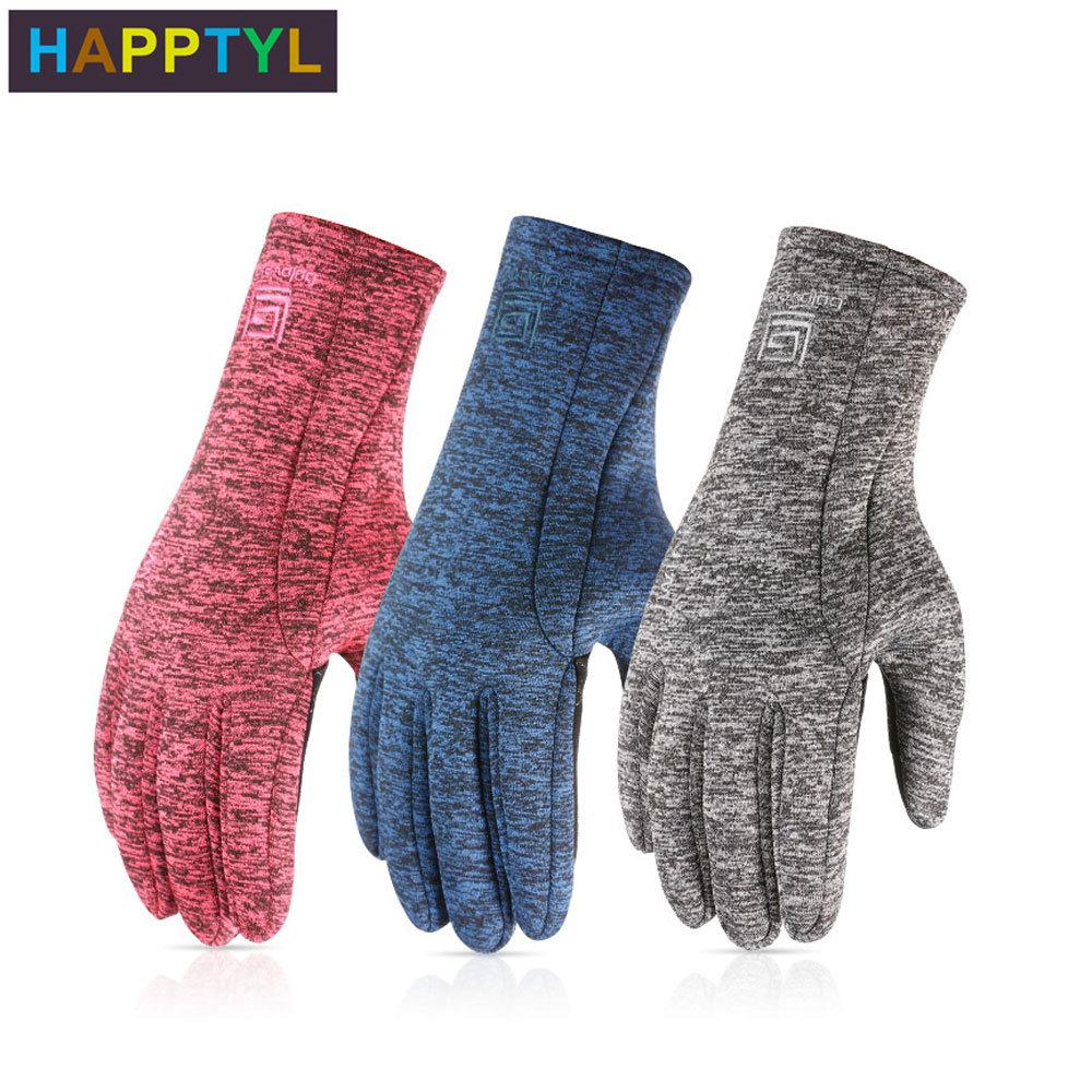 HAPPTYL 1Pair Winter Gloves Diving Cloth  Anti-slip Touch Screen Gloves Finger Fleece Warm Gloves for Women Men happtyl 1 pair winter men