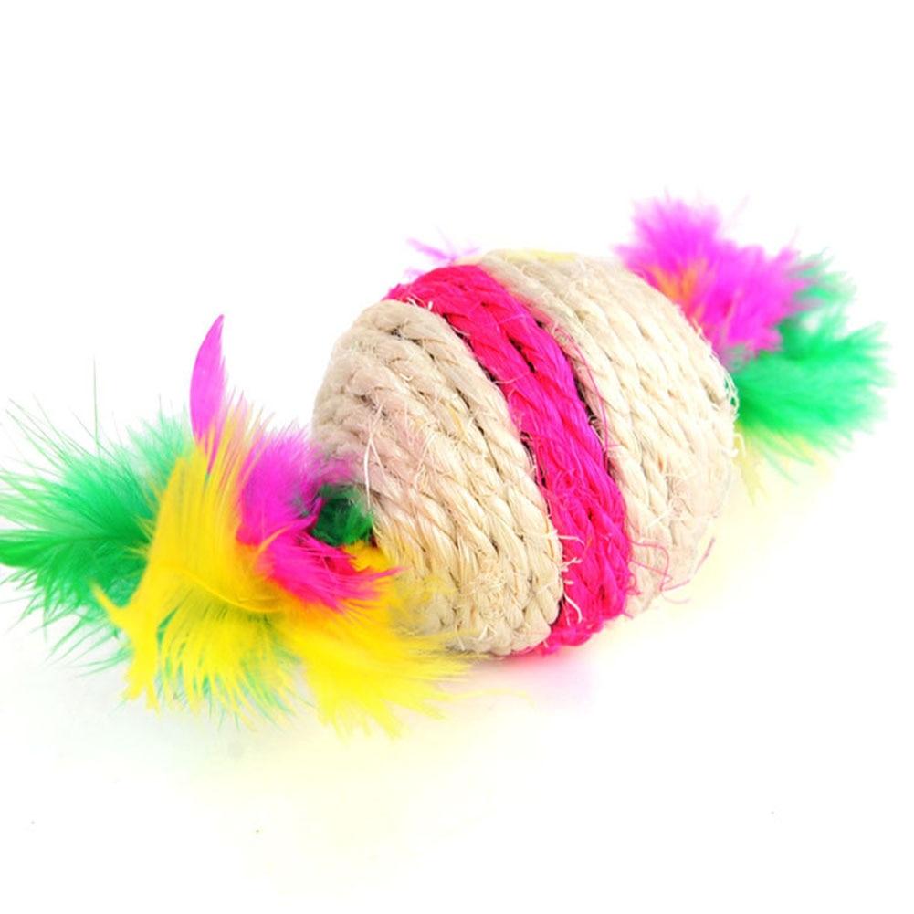 DIY, accesorios para mascotas para jugar con plumas, ejercicio giratorio, gato rodante de juguete de Color aleatorio, Bola de Sisal