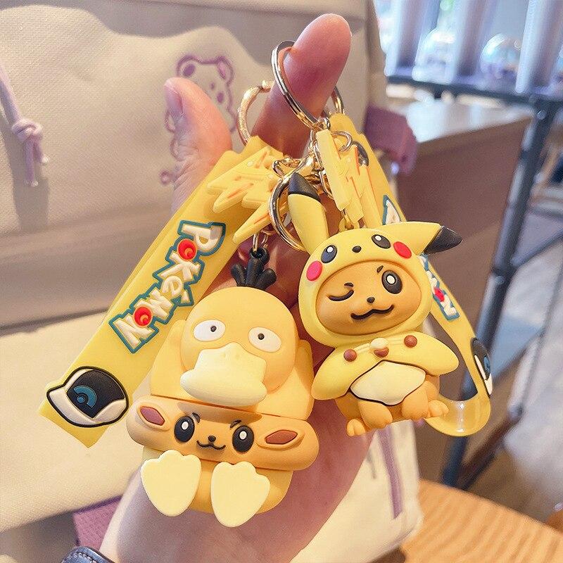 Брелок «Покемон» Пикачу творческие аниме Мультяшные ключ цепочка украшения куклы Eevee Psyduck Rowlet для детей игрушки сумка кулон подарки