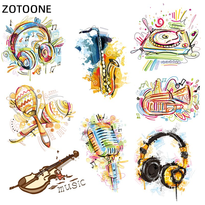 ZOTOONE Colorful Iron on Patches for Clothing DIY T-shirt Applique Heat Transfer Muisc Stickers Stripe Clothes Thermal PressI