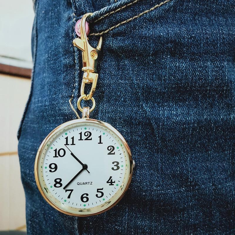 Quartz Pocket Watch Keychain Clocks Round Dial Portable Simple Pendant for Women Men NYZ Shop