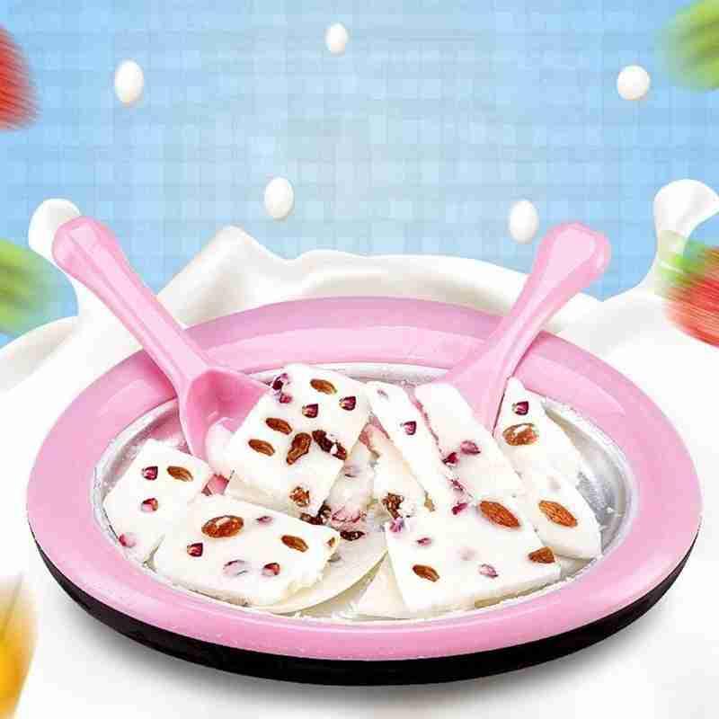آلة الآيس كريم الملفوفة للأطفال ، مقلاة الآيس كريم الفورية مع 2 ملعقة ، مستديرة ، حلوى ، لون وردي