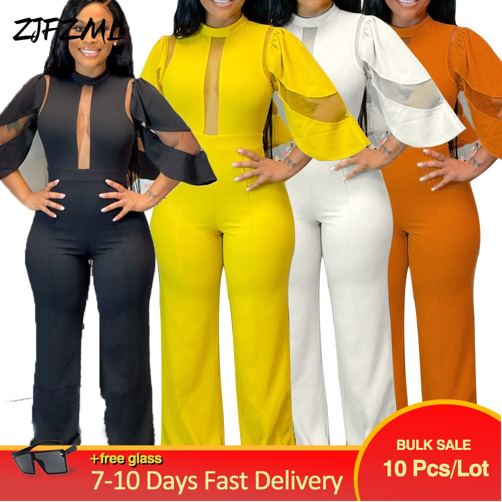 Bulk Items Wholesale Lots Women Jumpsuits Solid Sheer Mesh Half Sleeve Spliced Wide Leg Romper Elegance One Piece Bodysuit New