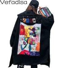 Vefadisa Patch Graffiti imprimer femmes pardessus 2020 automne hiver broche décoration manteau à capuche grande taille femmes manteau noir QYF3348