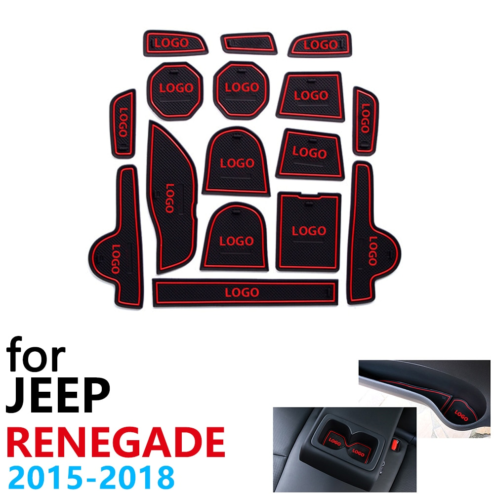 Anti-Slip de Borracha Almofada Copo Porta Mat Groove para Jeep Renegado BU 16 Trailhawk 2015 ~ 2018 2016 2017 Pcs Acessórios mat para o telefone