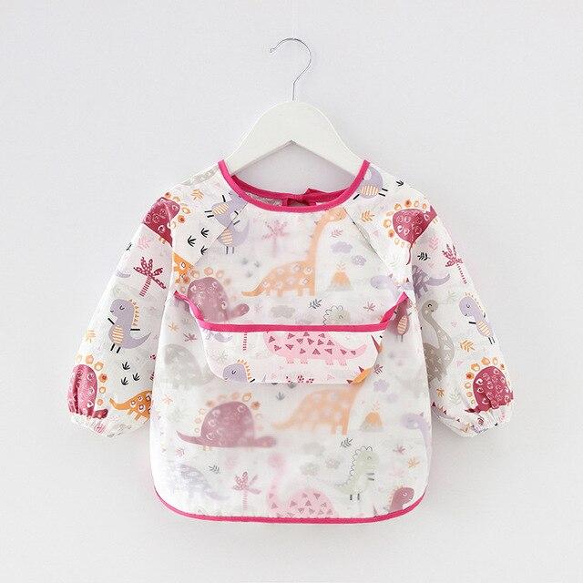Baby Kids Toddler Long Sleeve Scarf Waterproof Art Smock Feeding Bib Apron Pocket Infant Boys Girls Burp Cloth Banana Bibs 4