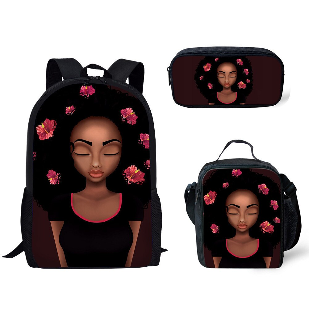 3pcs/set School Backpacks for Kids Black Art African Girls Printing Backpack Women Shoulder Bags Children Rucksack