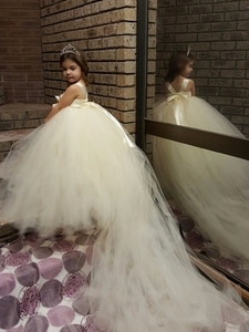 Girls Ivory Trailing Tutu Dress Kids Tulle Flower Dress Ball Gown with Crown Children Birthday Party Costume Evening Dreeses