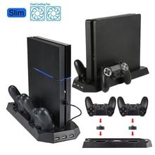 Soporte Vertical con ventilador de refrigeración Dual controladores de carga de estación de cargador 3 HUB USB cargador de puertos para PS4 Slim