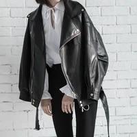 2020 belt long sleeve leather coat korean wind spring and autumn new loose large size joker motorcycle jacket coat women tide