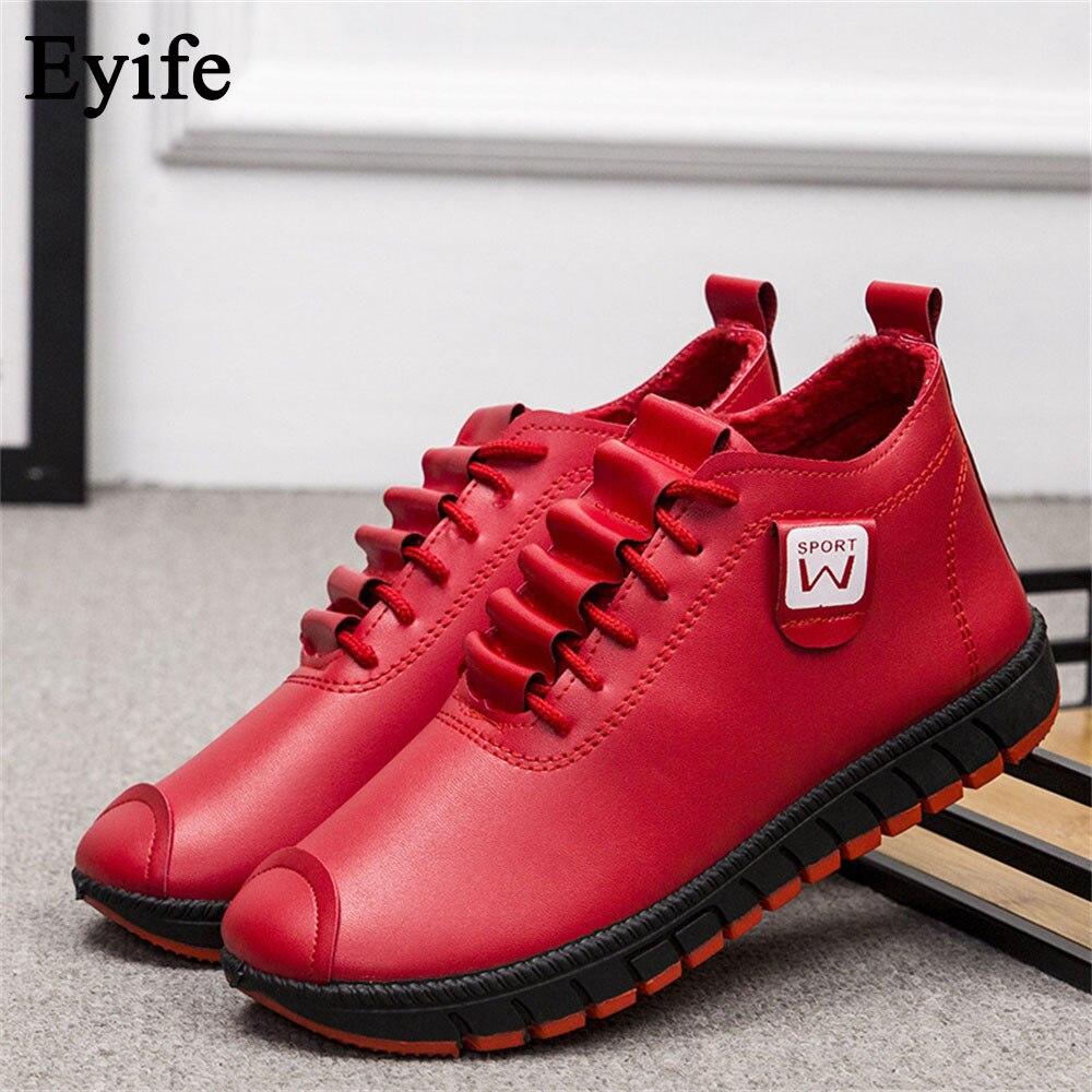 Tênis de Inverno Rendas até Senhoras de Pelúcia Confortável à Prova Eyife Mulheres Sapatos Quentes Tamanho Grande Dwaterproof Água Feminino Casual Ankle Boots 2021