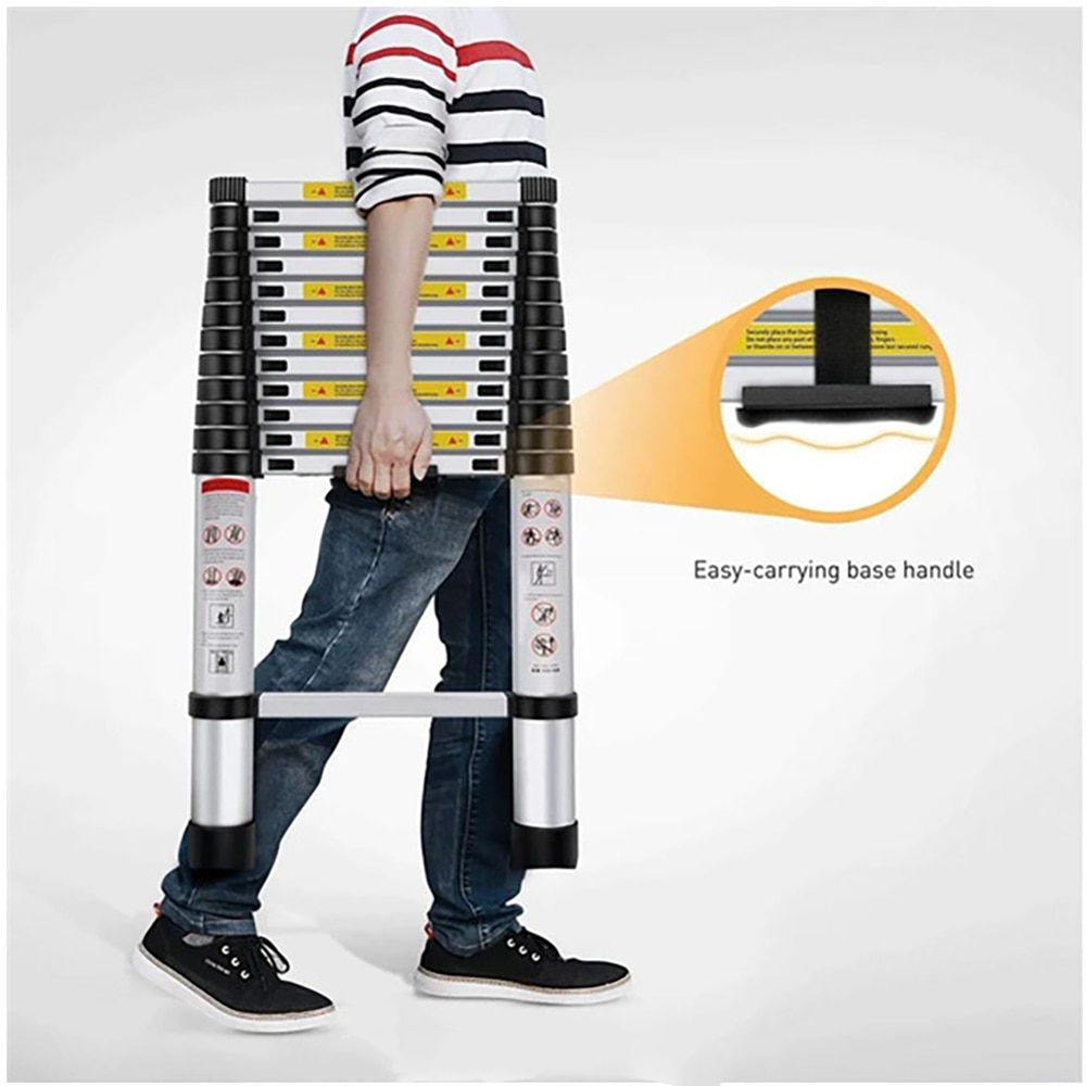 12.5ft 330lbs Capacity 3.8M 1.4M One Button Retraction Telescopic Extension Step Ladder Aluminum Alloy Folding Multi Purpose