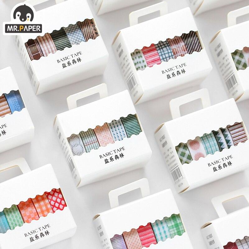 Mr.Paper 5 pièces/boîte 8 Design sel forêt série taches couleur Scrapbook règle de coupure Washi ruban balle journalage déco rubans de masquage
