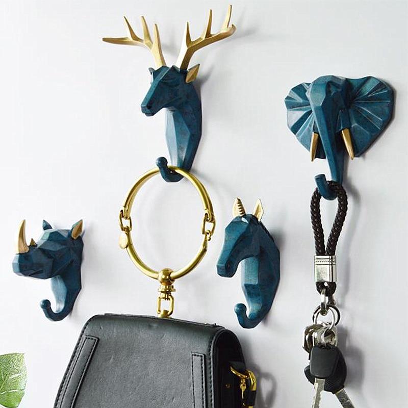 1Pc Nordic Animal Hanging Coat Hook Wall Punch-free Deer Head Key Hanger Home Storage