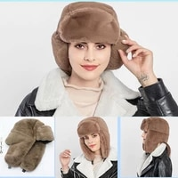 womens earcuff hats female winter thicken warm ear protection bomber hats solid color fashion faux fur all match cap