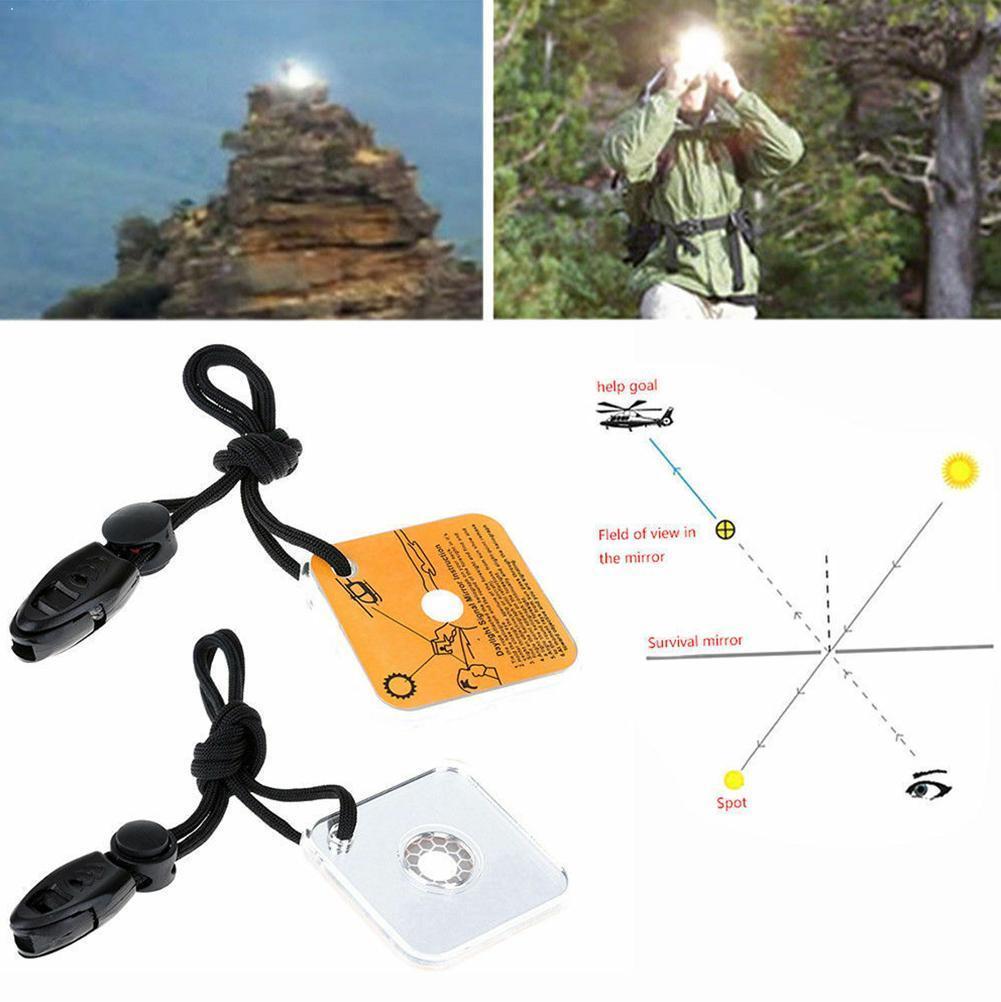 1 peça ao ar livre espelho de sinal reflexivo portátil distância emergência comunicação kit acampamento caminhadas longa sobrevivência m1r8