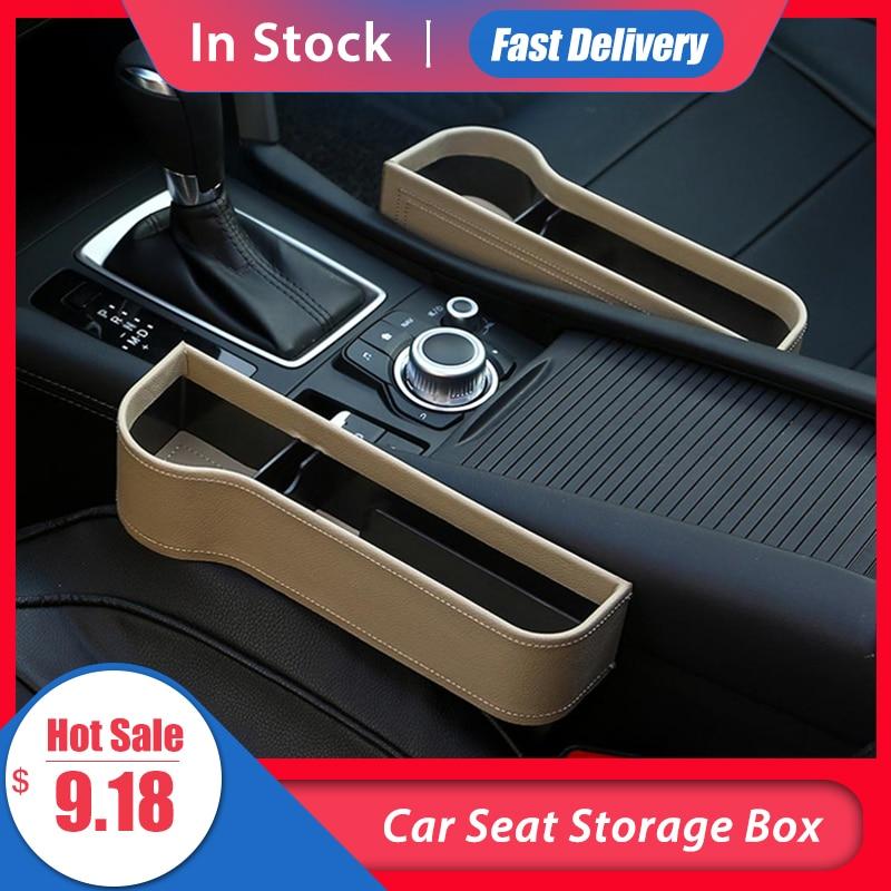Boîte de rangement de siège de voiture   Boîte de rangement de fente de voiture, tasse en cuir PU, attrape de poche, organisateur de téléphone, support de bouteille de tasse, accessoires de voiture multifonctions
