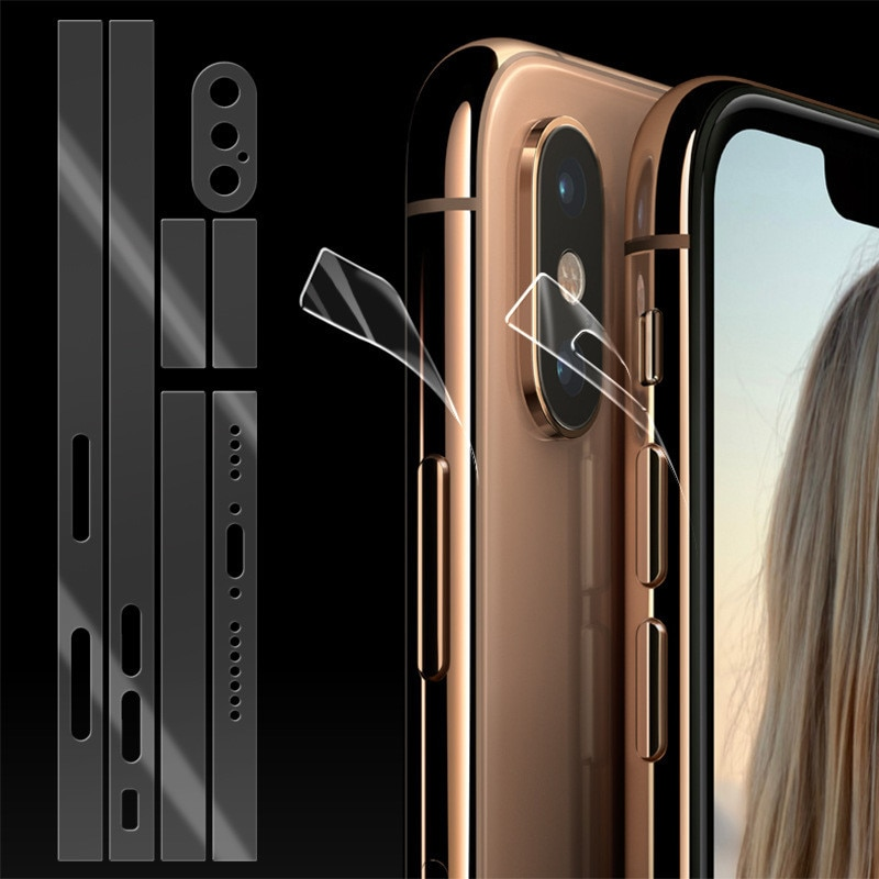 Película lateral transparente para teléfono móvil 2 uds. Para iphone11 Promax 8 8plus Xs XSMAX XR Rim película protectora Ultra delgada de TPU película de hidrogel