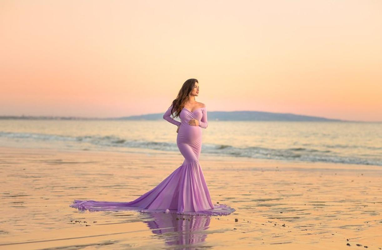 Off Shoulder Maternity Dress Slim Cross-Front V Neck Long Sleeve Gown for Photo Shoot Elegant Pregnancy Dress Photography enlarge