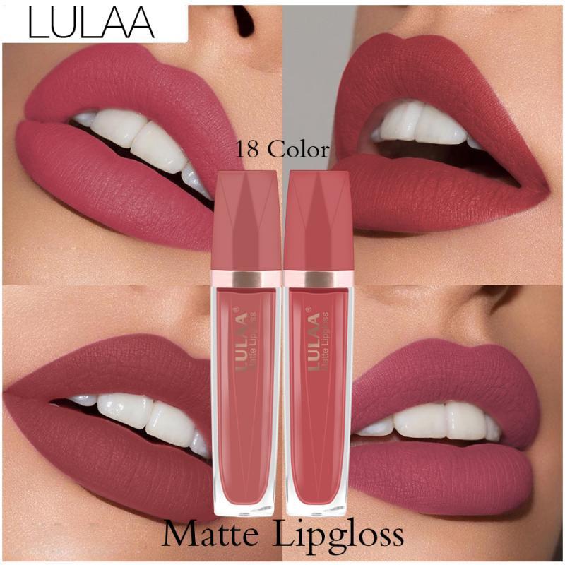 18 Colors Matte Nude Waterproof Lip Gloss Long Lasting Moisturizing Lip Tint Non-stick Cup Lipgloss Women Lip Makeup Gift TSLM1