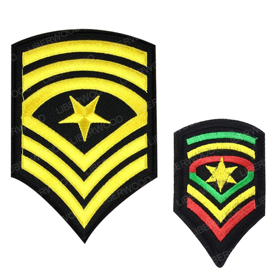 Военный наплечный ранг мастер-солдат патч ранг полоса шеврон Железный на значке Jah армия флаг Иуды Звезда Радуга патч нарукавник
