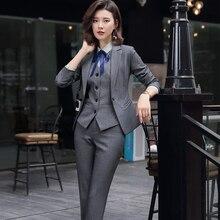Office Lady Set da 3 pezzi abbigliamento da lavoro formale da donna Pant Suit Uniform Designs bottone singolo giacca da giacca grigia nera gilet e pantaloni