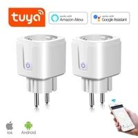 wifi smart wireless plug 16a eu adaptor remote voice control power monitor outlet timer socket for alexa google home 100 240v