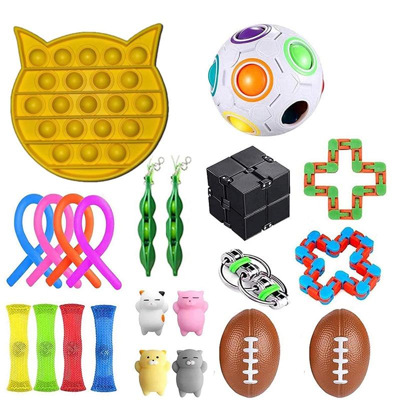 Ensemble de jouets sensoriels, Fidget, anti-Stress, pour enfants et adultes, couleur aléatoire, pour soulagement de l'anxiété et de l'autisme