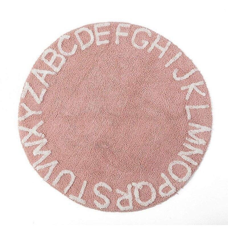 Abc alfabeto niños gatear jugar Mat - Super suave, de punto educativo lavable alfombras redondo 120CM diámetro rosa