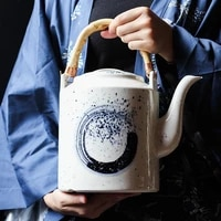 large capacity retro japanese teapot household ceramic bridge teapot hotel restaurant chinese enlarged tea pot 2l