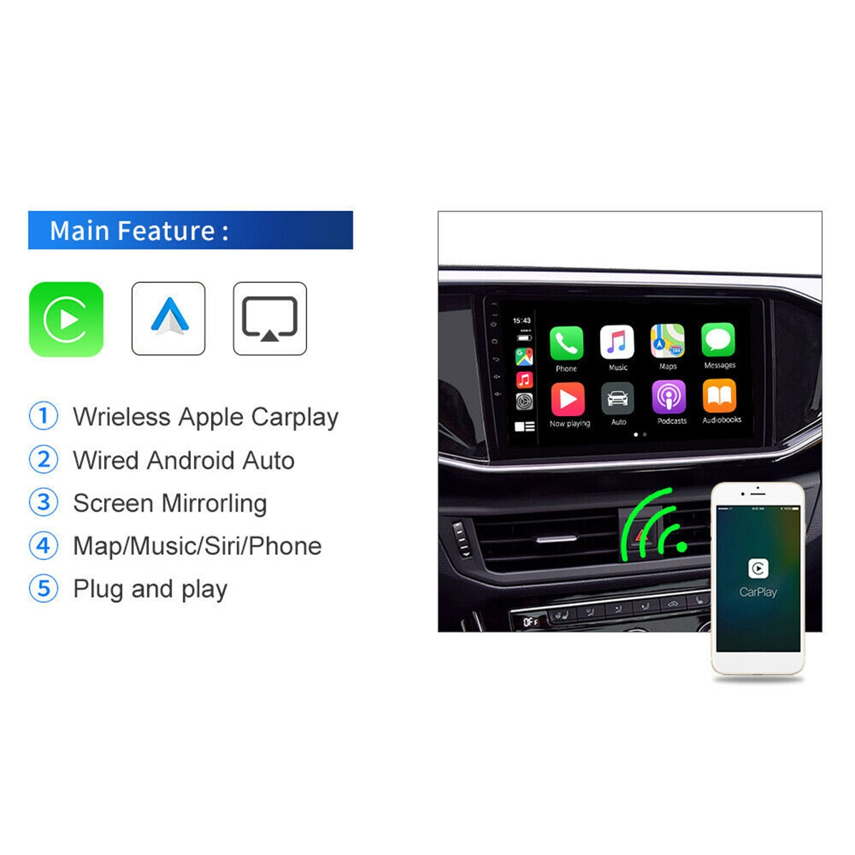 Wireless CarPlay Adapter Dongle for Cars Compatible with Car Cavigation Player VH99 enlarge