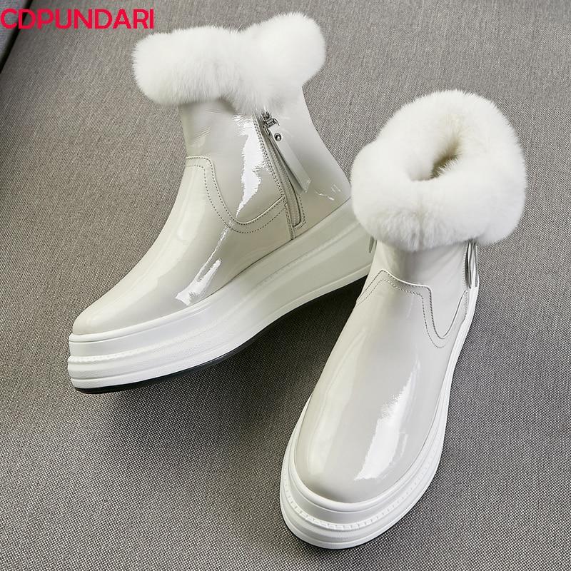 Black White Genuine Leather Platform Plush Snow Boots Women Flat Ankle Short Boots Winter Shoes Botas De Invierno Para Mujer