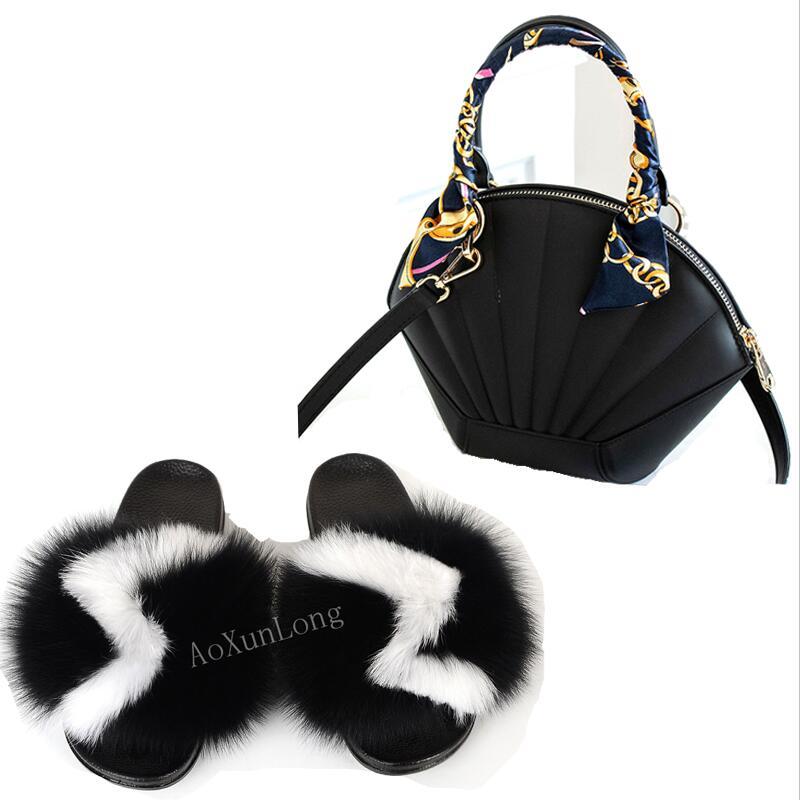 Zapatillas de pelo de zorro para mujer, bolso de concha de cinta a la moda, chanclas con pelo, chanclas de piel, zapatillas para el hogar, juegos de zapatillas mullidas