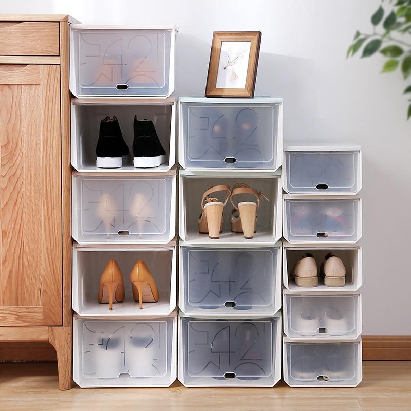 1Pc/set Big Shoe Organizer Drawer JD Sneaker Box Transparent Plastic Rectangle Large Volume Cabinet Covered Stackable Shoes Bin