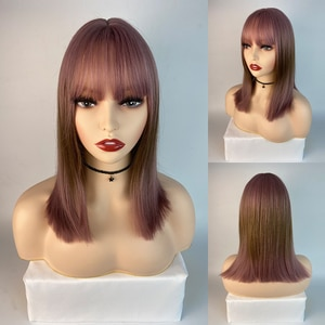 Women Synthetic Hair With Bangs Ombre Black Brown Lolita Wig For Girl High Temperature Wire Heat Resistant Cosplay Wig