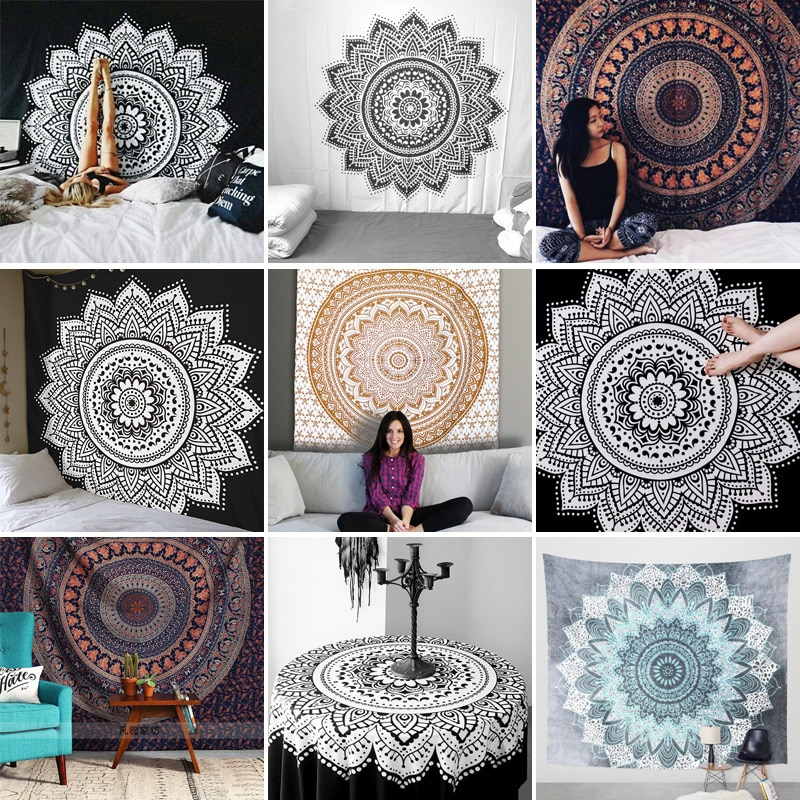 150*200cm Tapestry Wall Hanging Mandala Series Printing Macrame Beach Towel Mat Blanket Yoga Mat Shawl Carpet Home Cushion