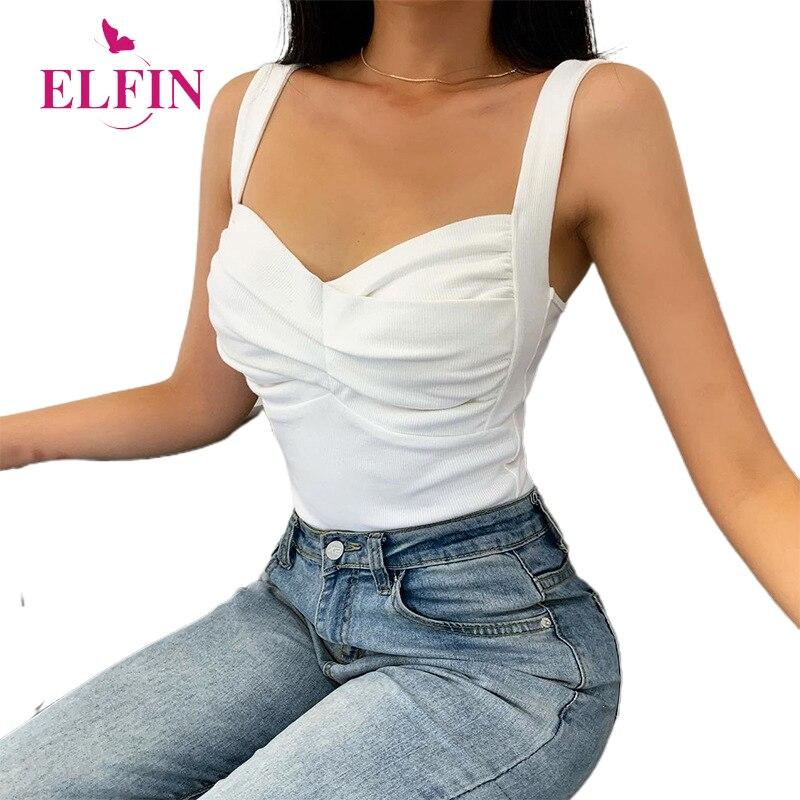Camisola blanca sexi plisada con cuello de pico y tirantes finos, ropa de verano para mujer, camiseta informal ajustada sin espalda, camisetas sin mangas coreanas SJ6619R