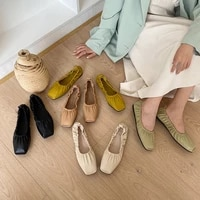 square toe flat shallow mouth single shoes autumn new wild fairy style ballet shoes soft sole granny shoes