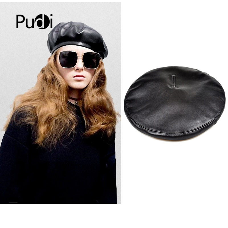 Pudi امرأة جلد طبيعي قبعة قبعة قبعة 2019 جديد فتاة الأغنام الجلود الفنان القبعات قبعات HL925