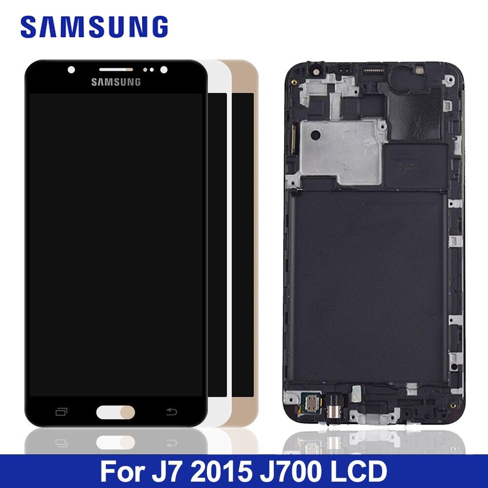 J700f display lcd para samsung galaxy j7 2015 j700 j700m j700h j700fn ds tela de toque digitador assembléia com quadro botão casa