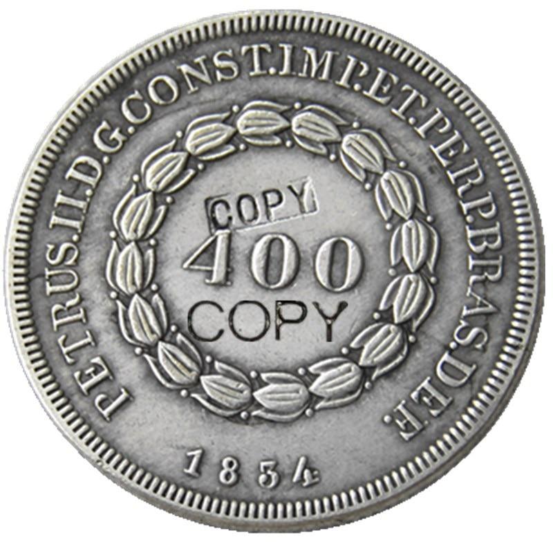 Brasil 400 Reis 1834 Empire Peter II monedas de copia chapadas en plata