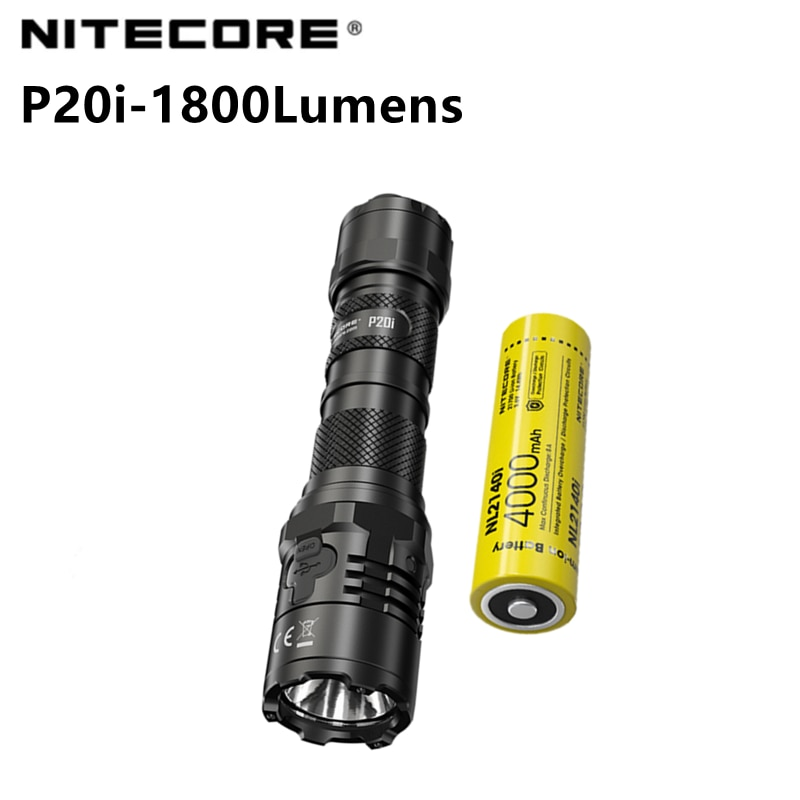 NITECORE P20i مصباح يدوي تكتيكي عالي القوة 1800 لومن فلاش بزر واحد USB قابل للشحن مع بطارية 4000 مللي أمبير في الساعة مصباح Led