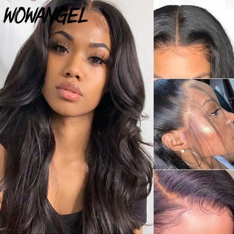 13X6 Deep Part 34 Inch Invisible HD Transparent Lace Front Human Hair Wig Body Wave Bleached Knots Pre Plucked Brazilian Remy